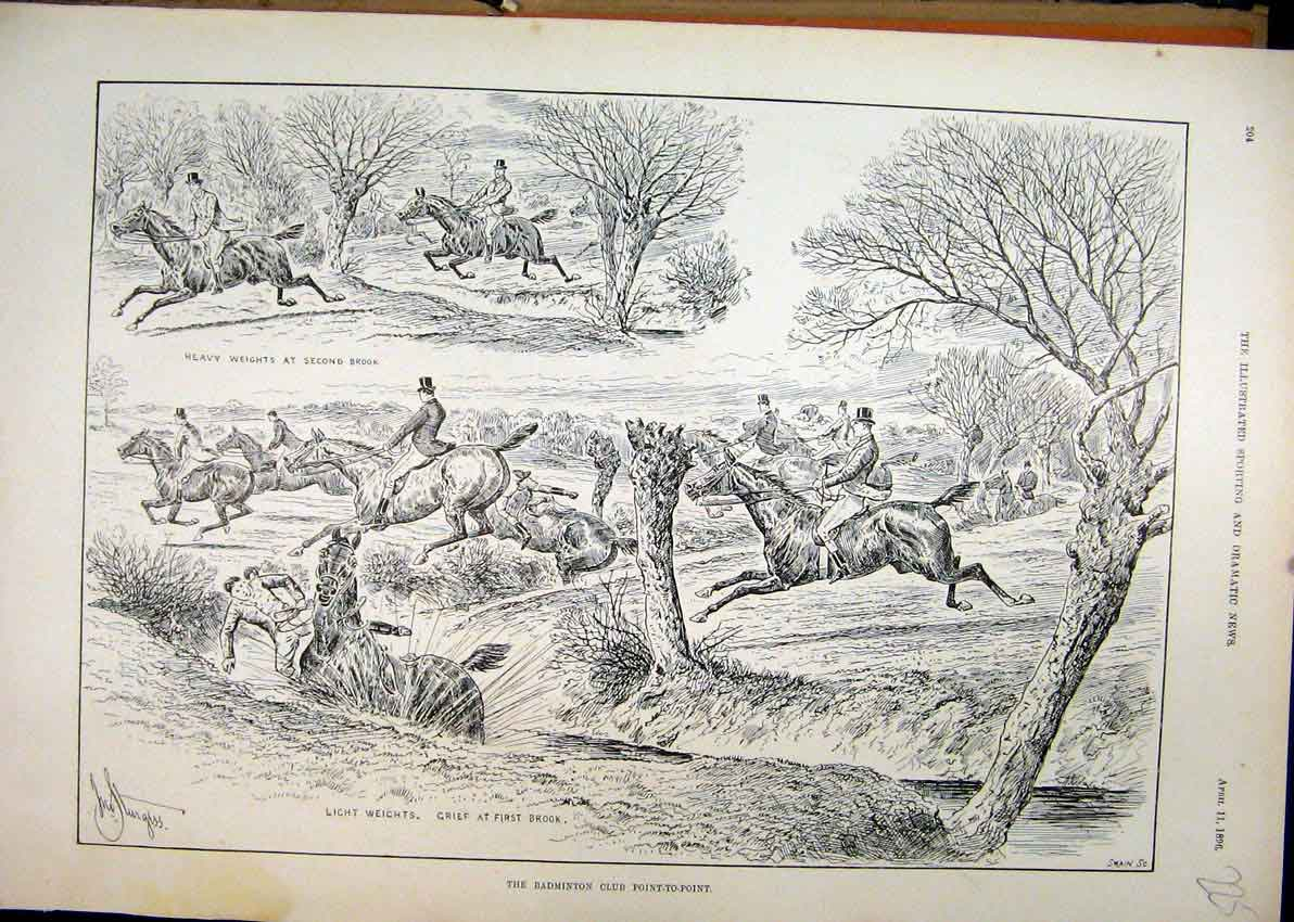 Print 1896 Badminton Club Point-To-Point Horse Jumping 25Mar1 Old Original