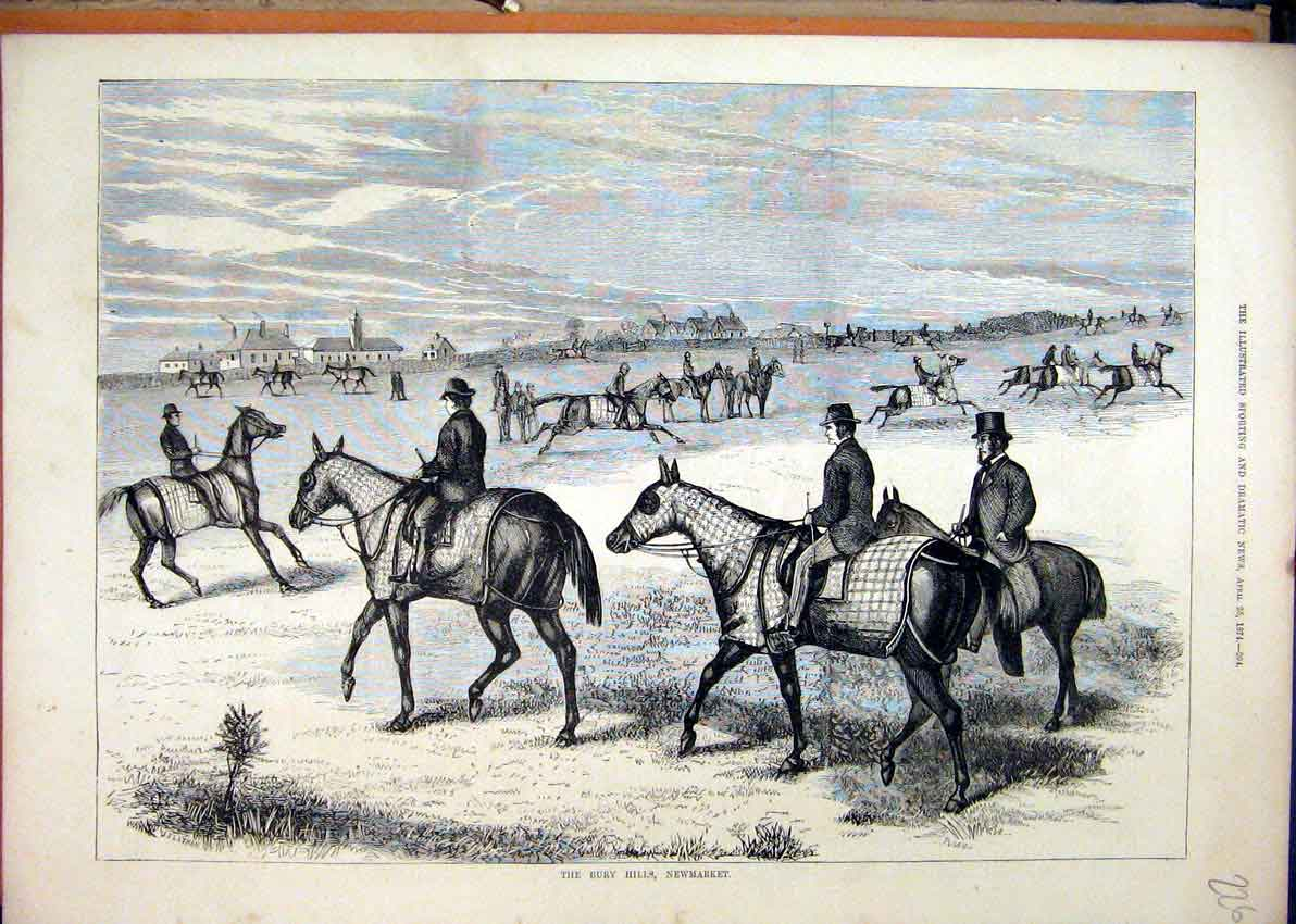 Print 1874 Bury Hills Newmarket Horses Exercising 26Mar1 Old Original