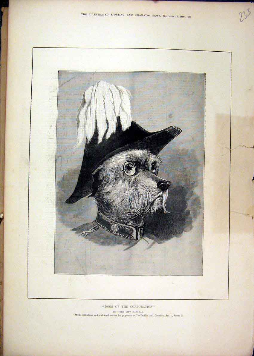 Print Theatre 1880 Dogs Corporation City Marshal 33Mar1 Old Original