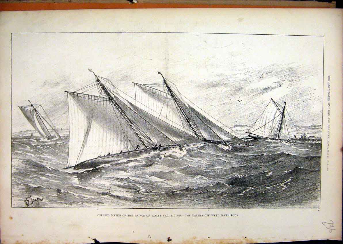 Print 1876 Prince Wales Yacht Club West Blyth Buoy Sea Scene 36Mar1 Old Original
