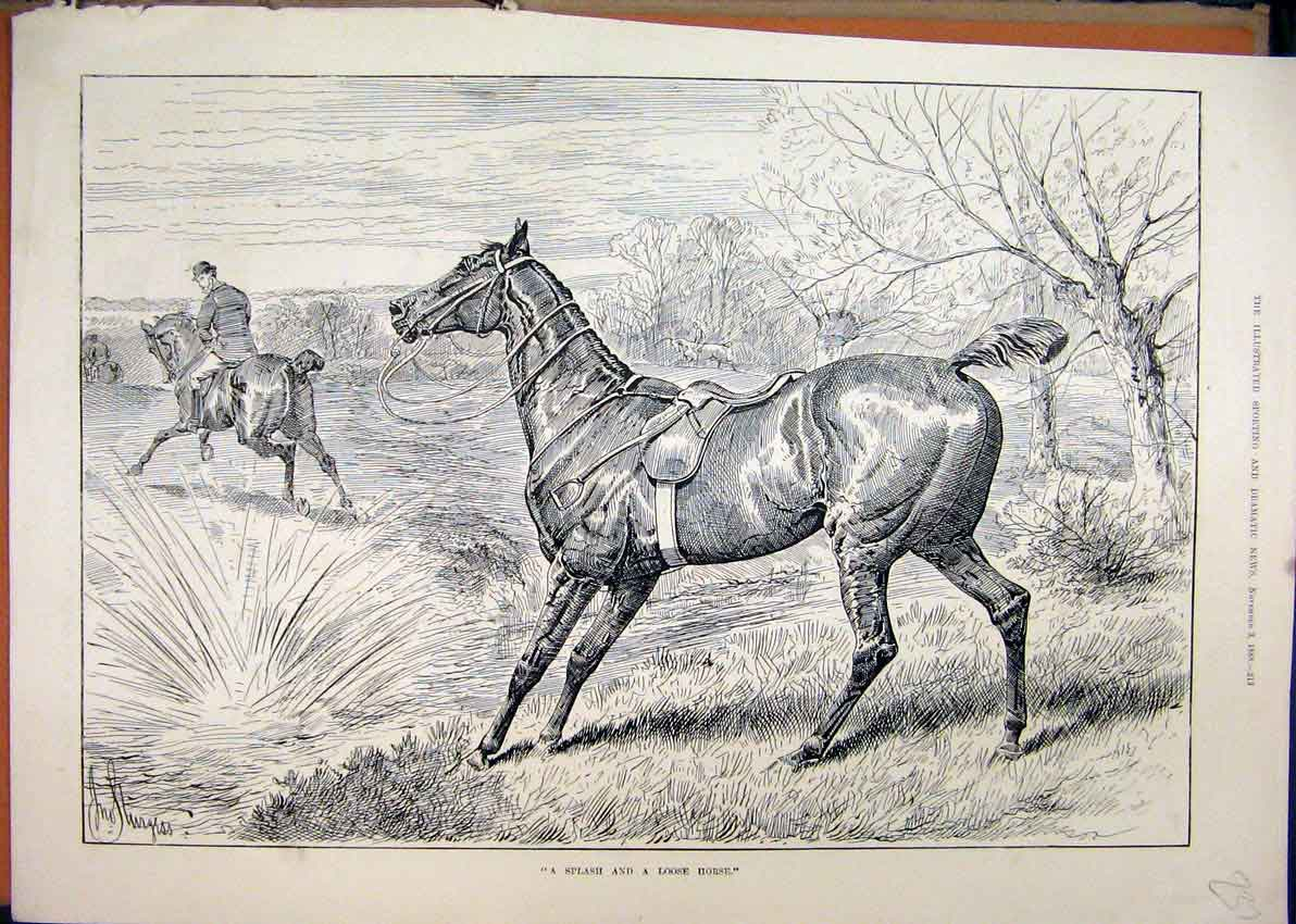 Print 1888 Horse Loose Man Falling Water Country Scene 37Mar1 Old Original