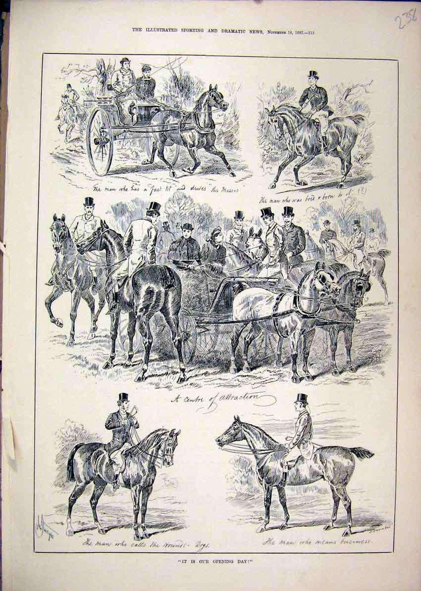 Print 1885 Hunting Opening Day Horses Carriage Scene 38Mar1 Old Original