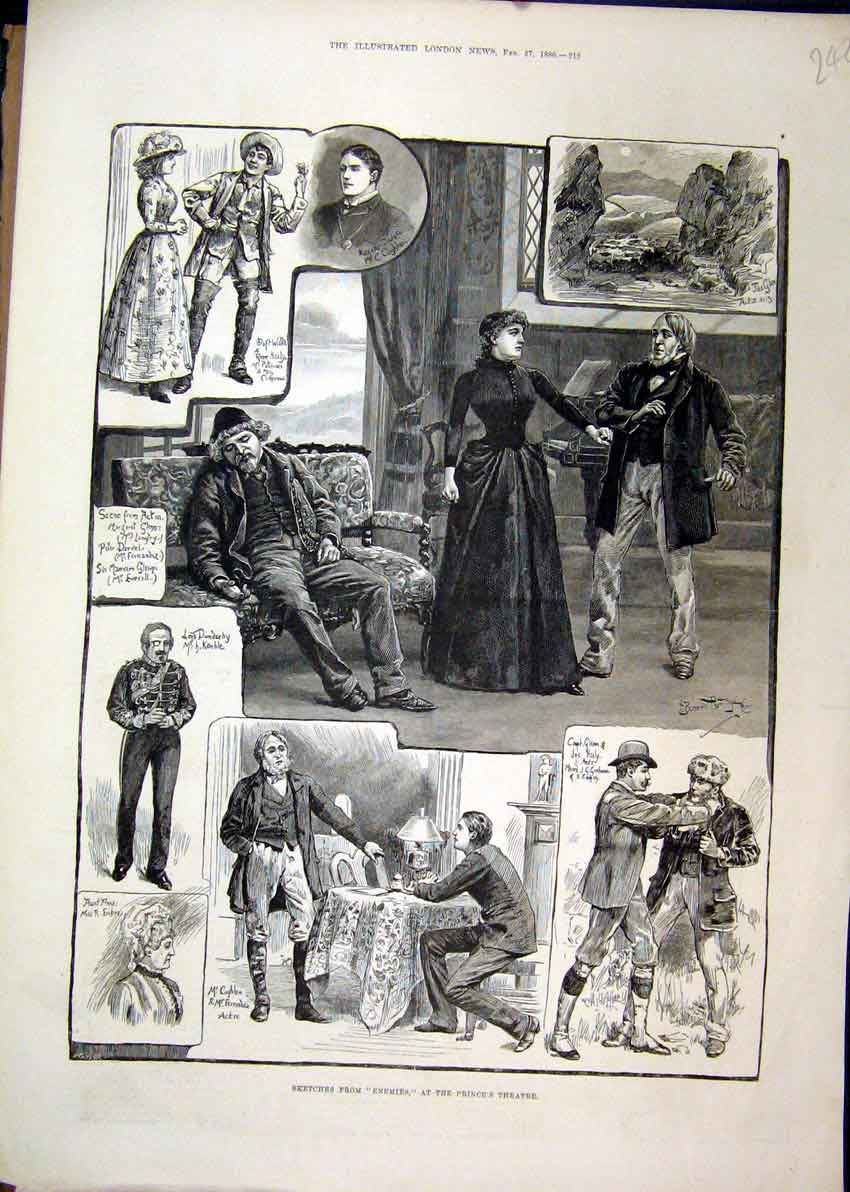 Print 1886 Sketches Enemies Princess Theatre Kemble Clitherow 42Mar1 Old Original