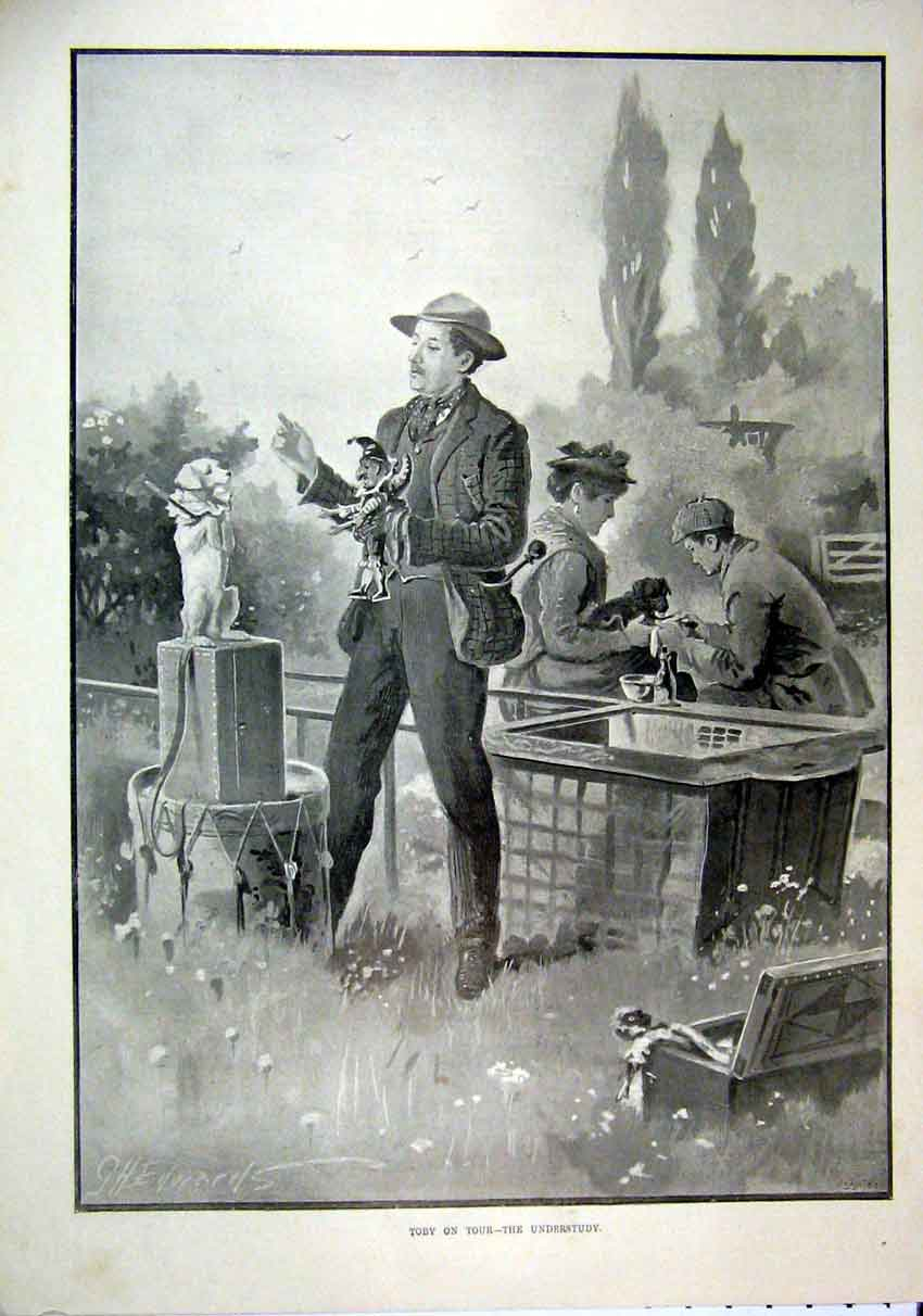 Print 1895 Toby Puppet Man Dog Perform Country Scene 21Mar1 Old Original