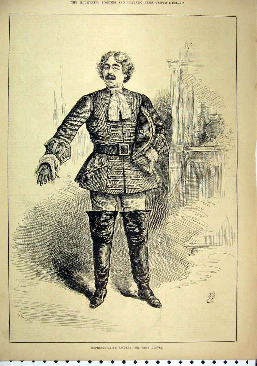 Print 1887 Man Singer Mr Sims Reeves Long Boots 24Mar1 Old Original