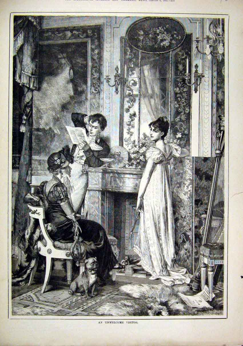 Print 1881 House Scene Man Women Reading Letter Romance 26Mar1 Old Original
