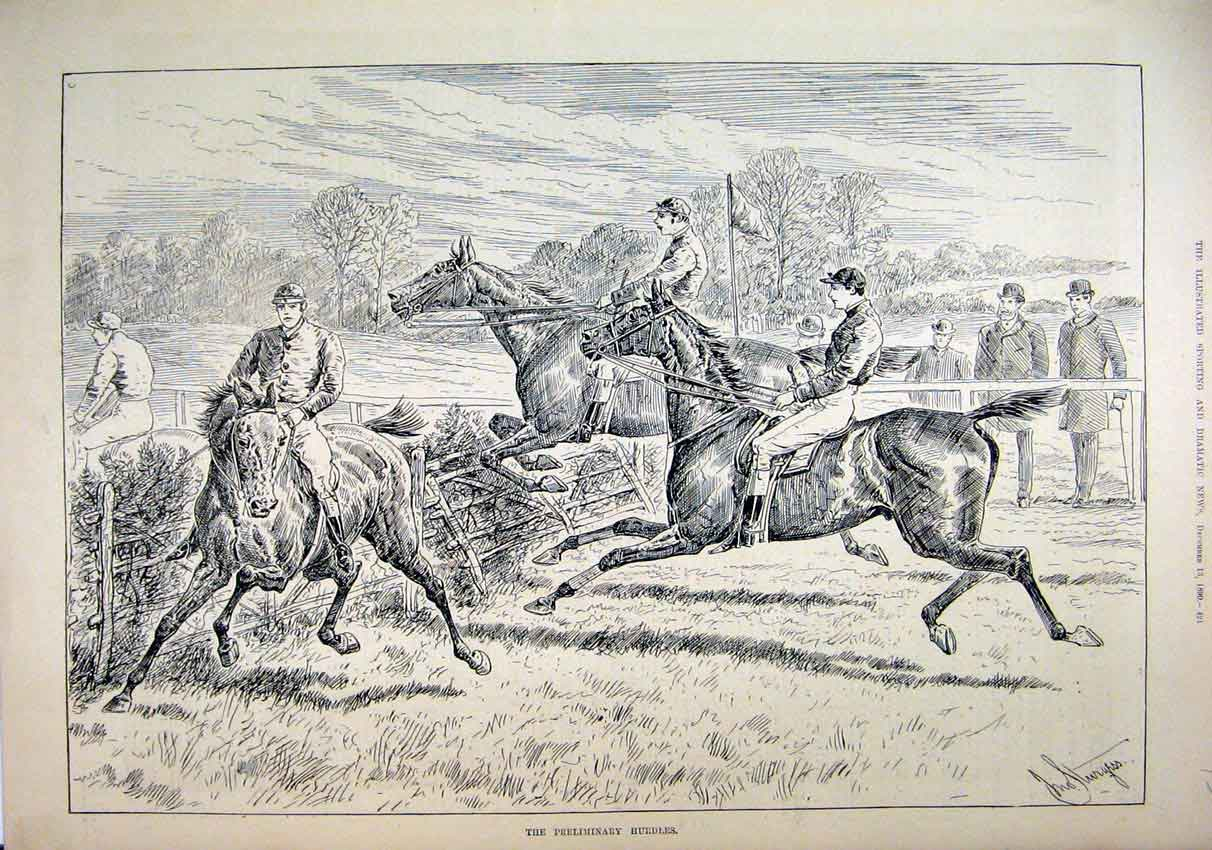 Print 1890 Horses Jockey Jumping Fence Refusing Country 30Amar1 Old Original
