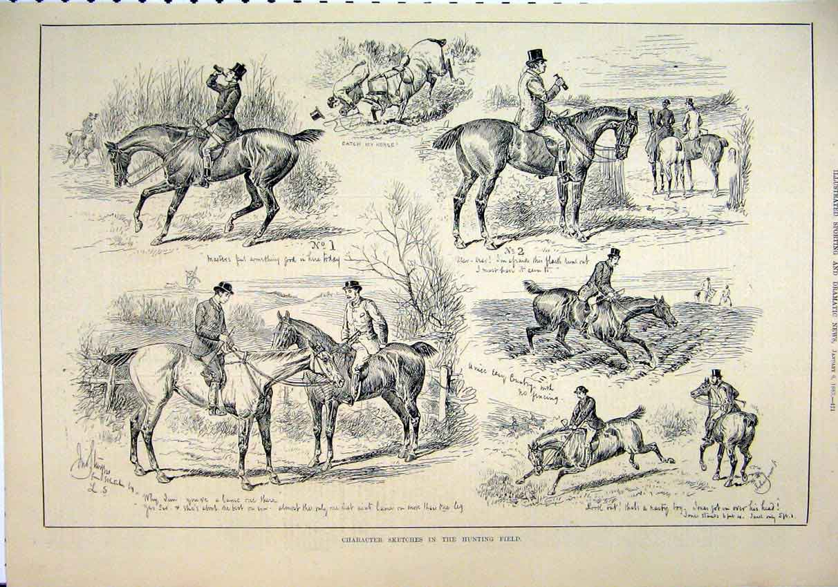 Print 1883 Hunting Field Character Sketches Horses Drinking 31Mar1 Old Original