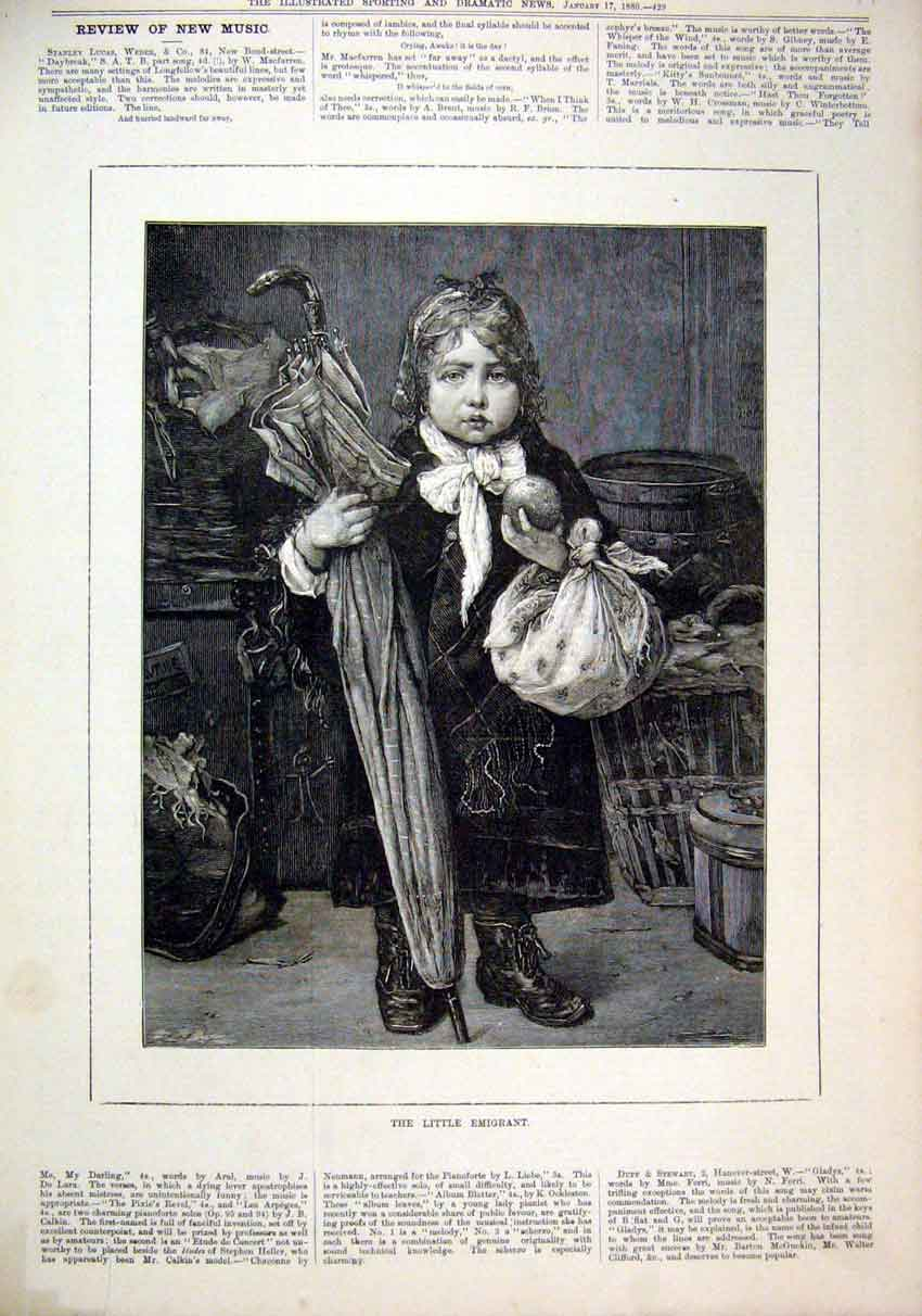 Print Little Emigrant 1880 Young Boy Fruit Umbrella Bundle 45Mar1 Old Original