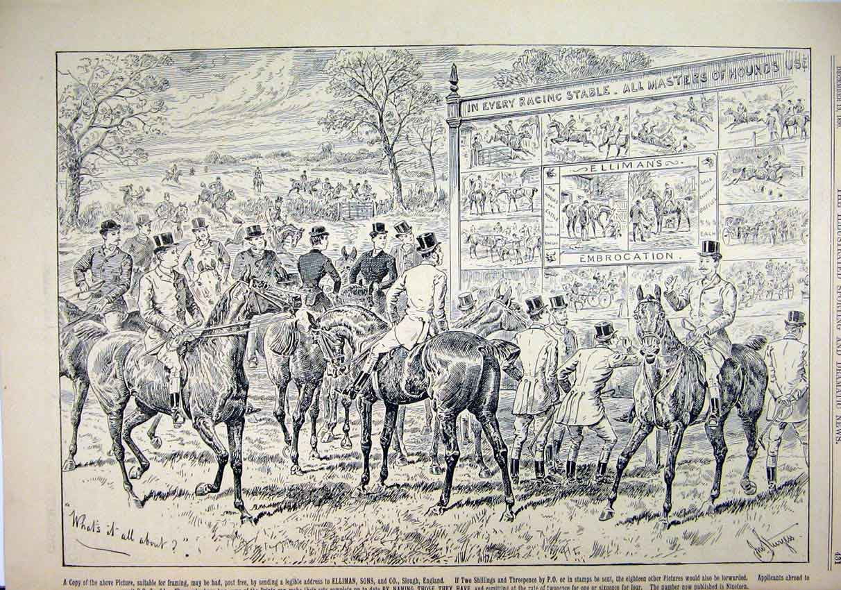 Print Advert Ellimans Embrocation 1890 Horse Riders 48Mar1 Old Original