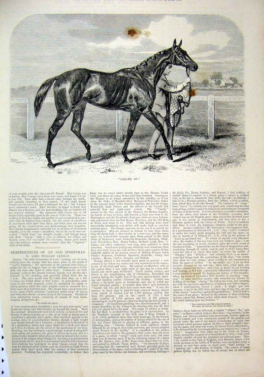 Print Horse 1874 Caller Ou Man Leading Race Course 50Mar1 Old Original