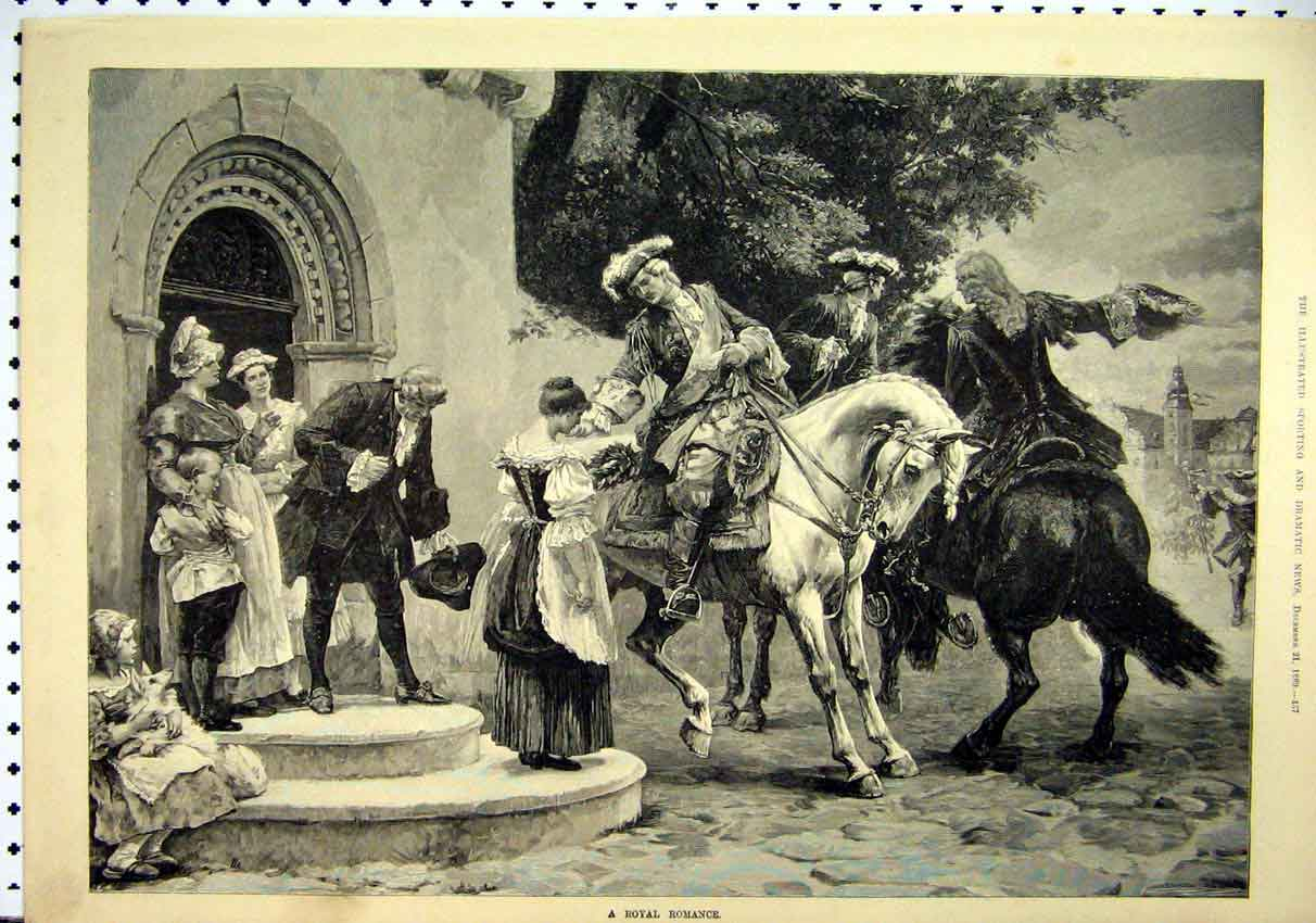 Print Royal Men Horses Romance Woman Door Step 1889 Fine Art 52Mar1 Old Original