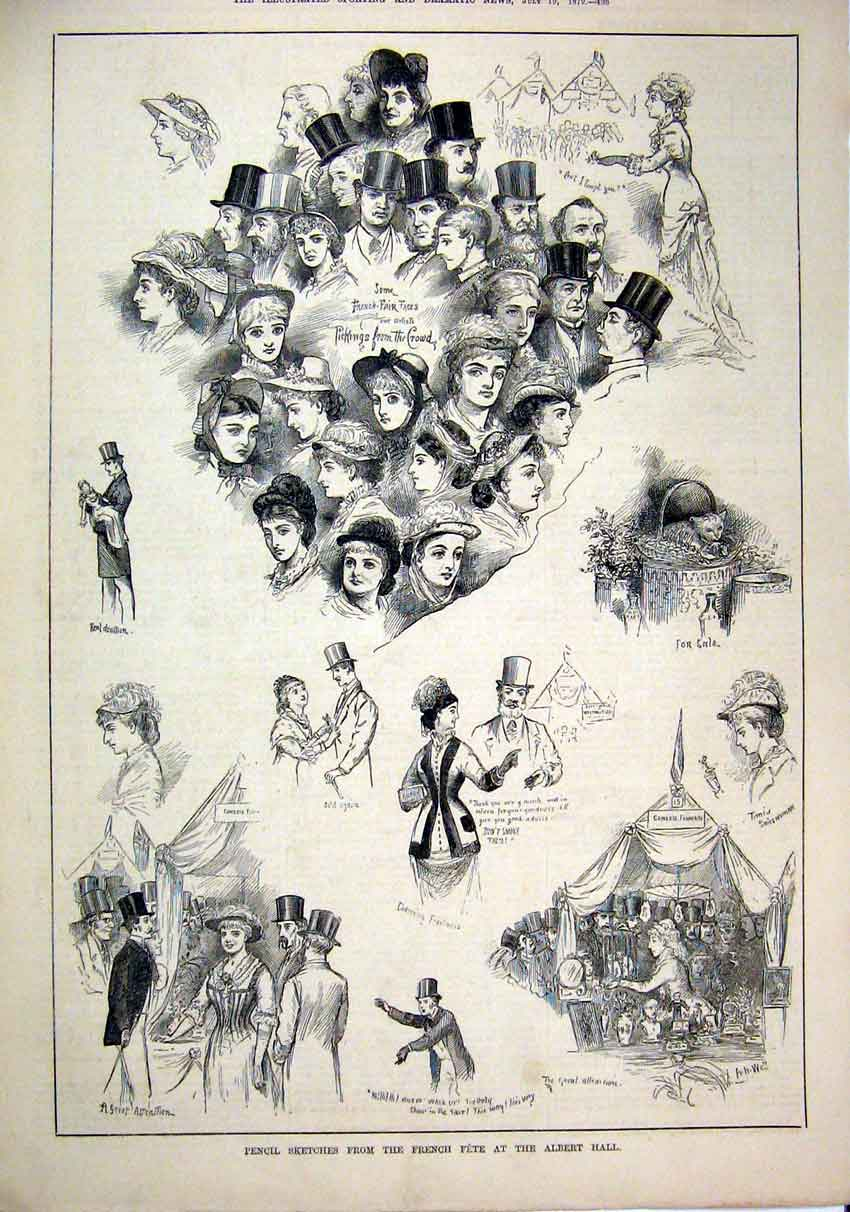 Print 1879 Sketches French Fete Albert Hall Woman Faces Crowd 62Mar1 Old Original