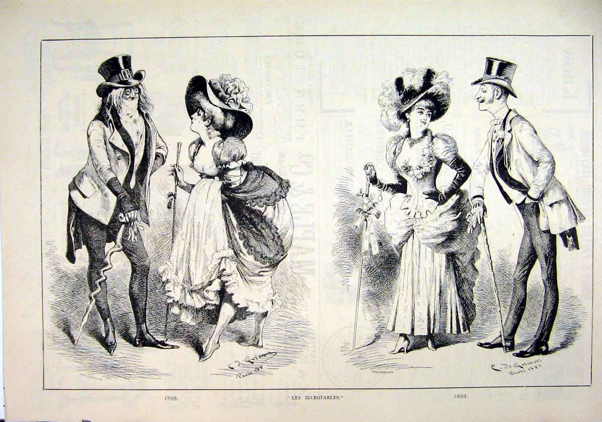 Print 1883 Incroyables Men Women Romance Dressed 70Mar1 Old Original