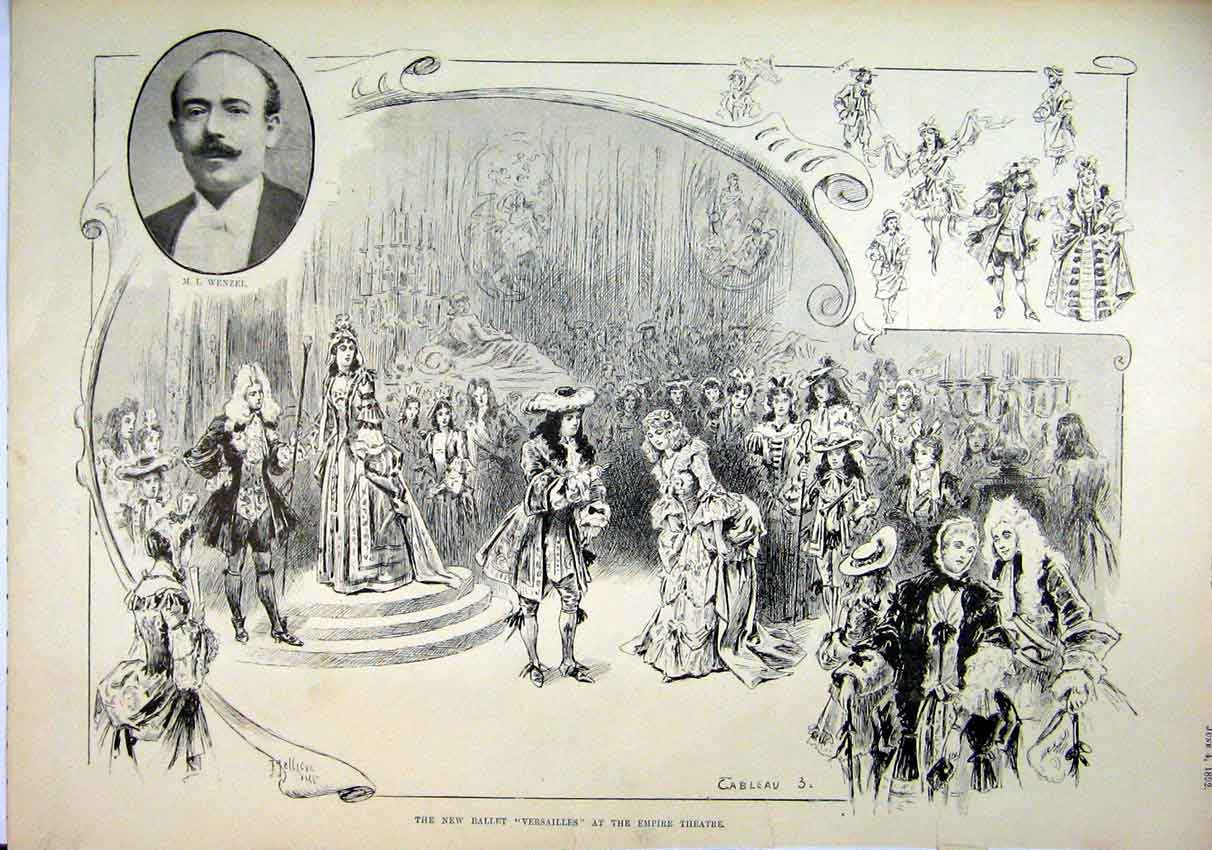 Print New Ballet 1892 Versailles Empire Theatre Romance 78Mar1 Old Original