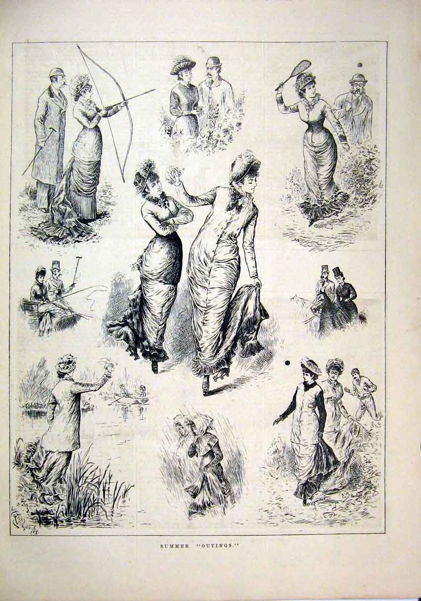 Print 1879 Summer Outings Archer Sport Rain River Boat 79Mar1 Old Original