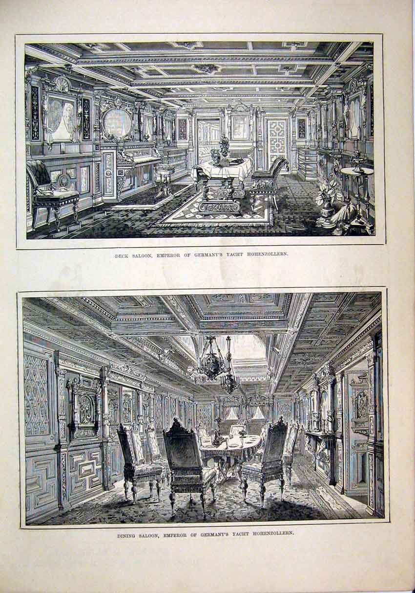 Print Dining Saloon Deck Emperor Germany Hohnezollern 1879 80Mar1 Old Original