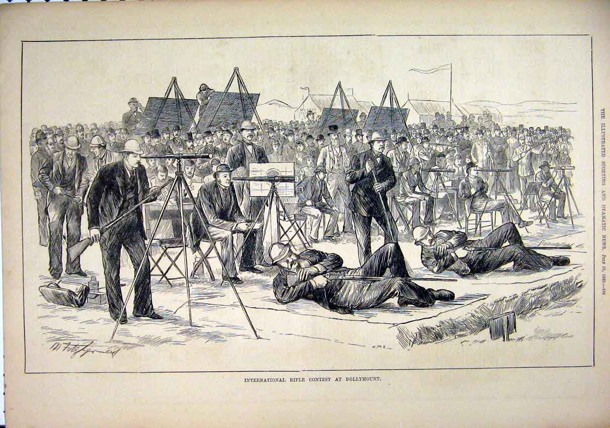 Print International Rifle Contest Dollymount 1880 91Mar1 Old Original
