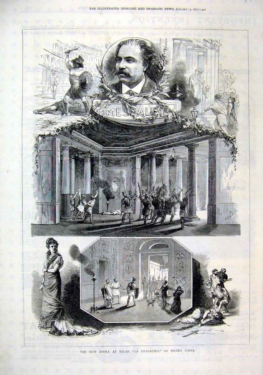 Print 1877 New Opera Milan La Messalina Pietro Cossa 92Mar1 Old Original
