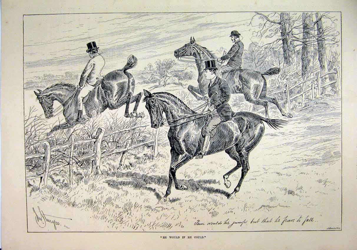 Print Horses Jumping Fence 1889 Refusing Country Scene 03Mar1 Old Original