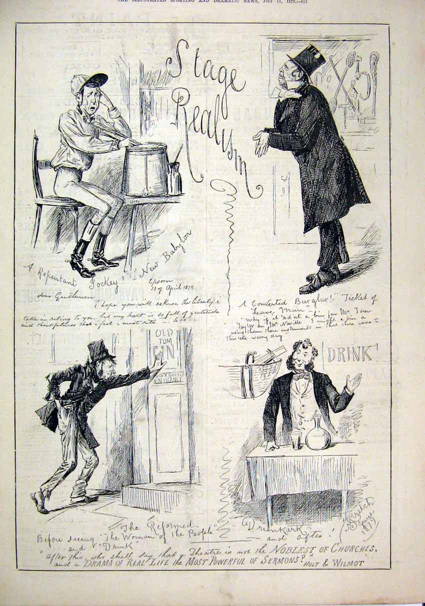 Print 1879 Sketches Stage Realism Jockey Theatre Drink Drama 11Mar1 Old Original