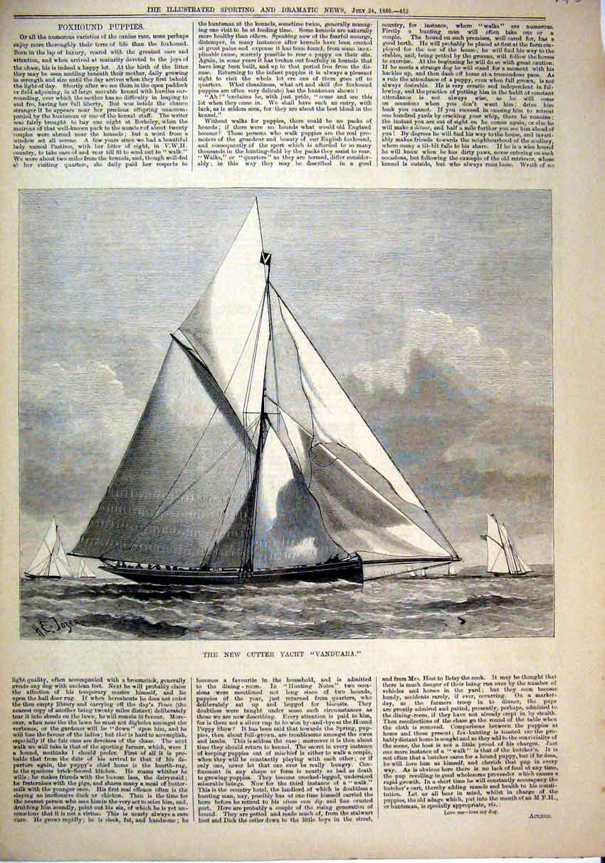 Print Cutter Yacht Vanduara 1880 Sailing Sea Scene 13Mar1 Old Original