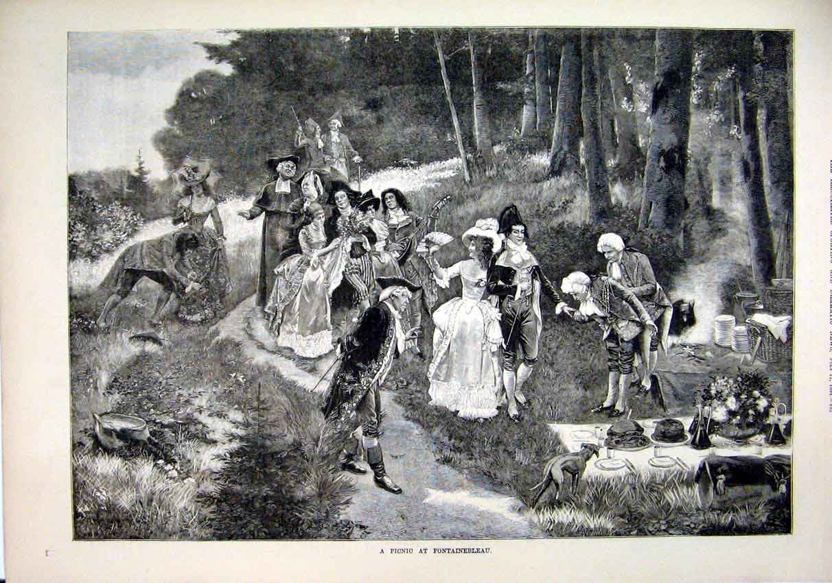 Print Picnic Fontainebleau 1884 Men Woman Romance Country 18Mar1 Old Original