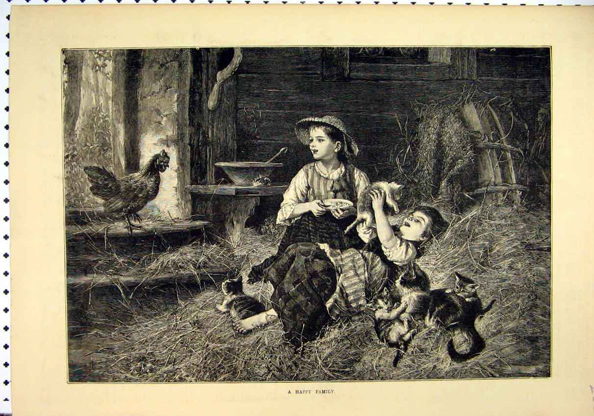 Print Young Children 1885 Barn Kittens Playing Chicken 22Mar1 Old Original