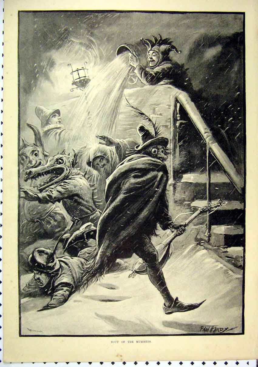 Print 1889 Men Fancy Dress Throwing Water Snow Fine Art 27Mar1 Old Original