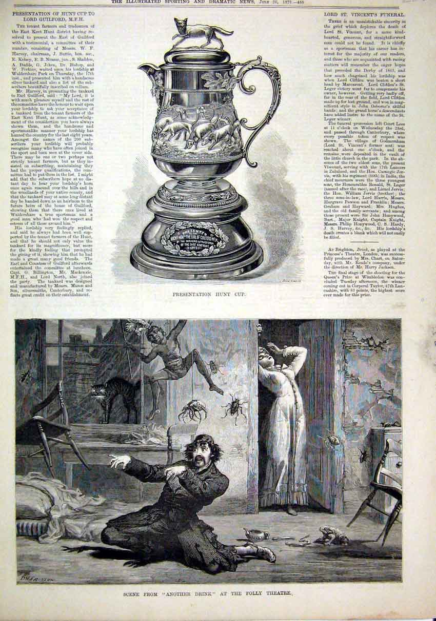 Print 1879 Hunt Cup Scene Another Drink Folly Theatre Spider 28Mar1 Old Original