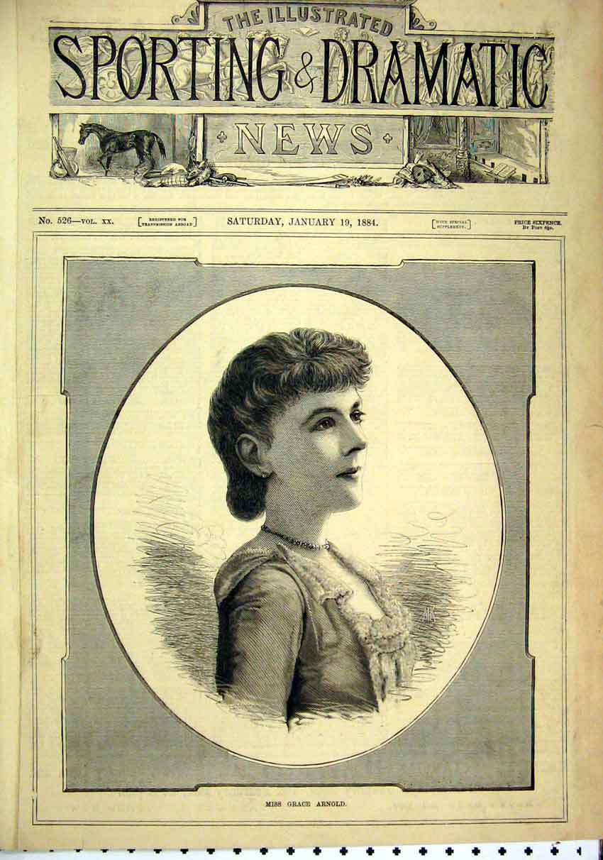 Print 1884 Portrait Miss Grace ArnBeautiful Woman 36Mar1 Old Original