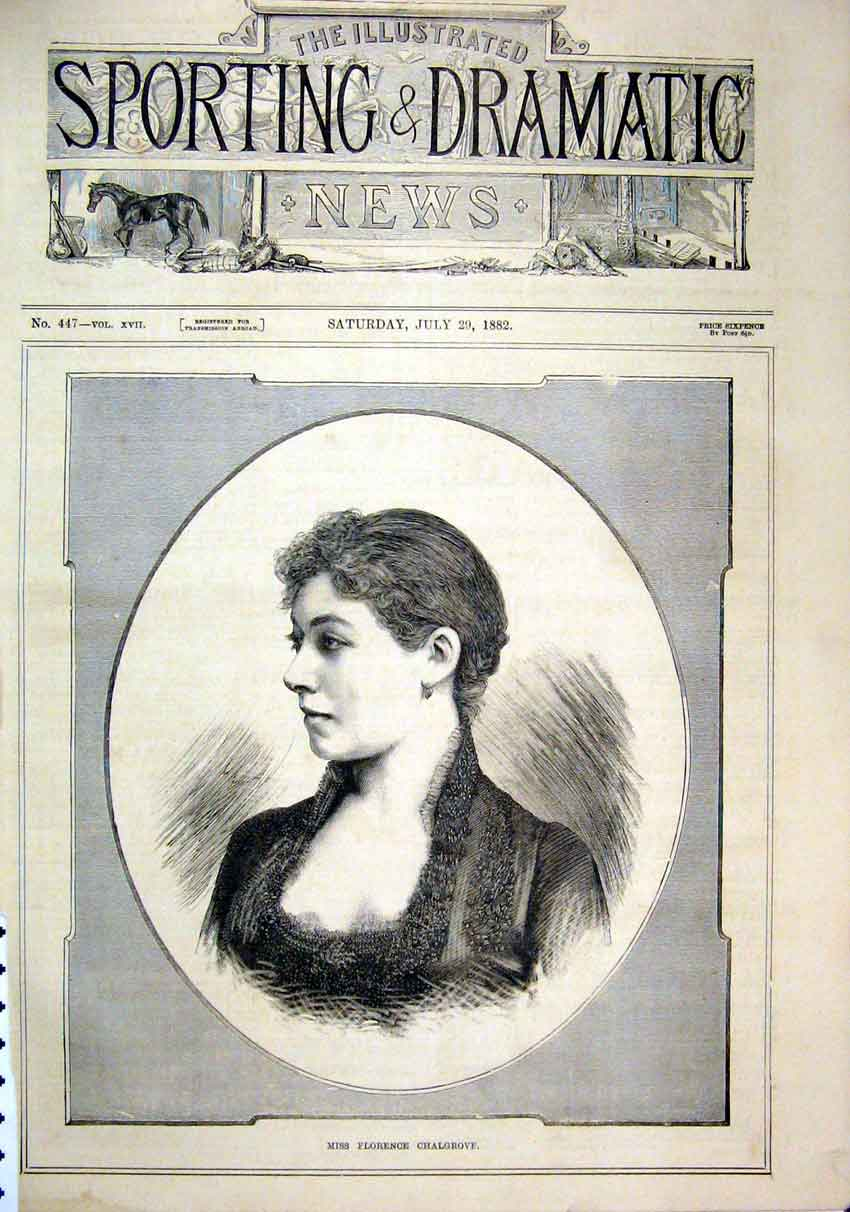 Print 1882 Portrait Miss Florence Chalgrove Beautiful 37Mar1 Old Original