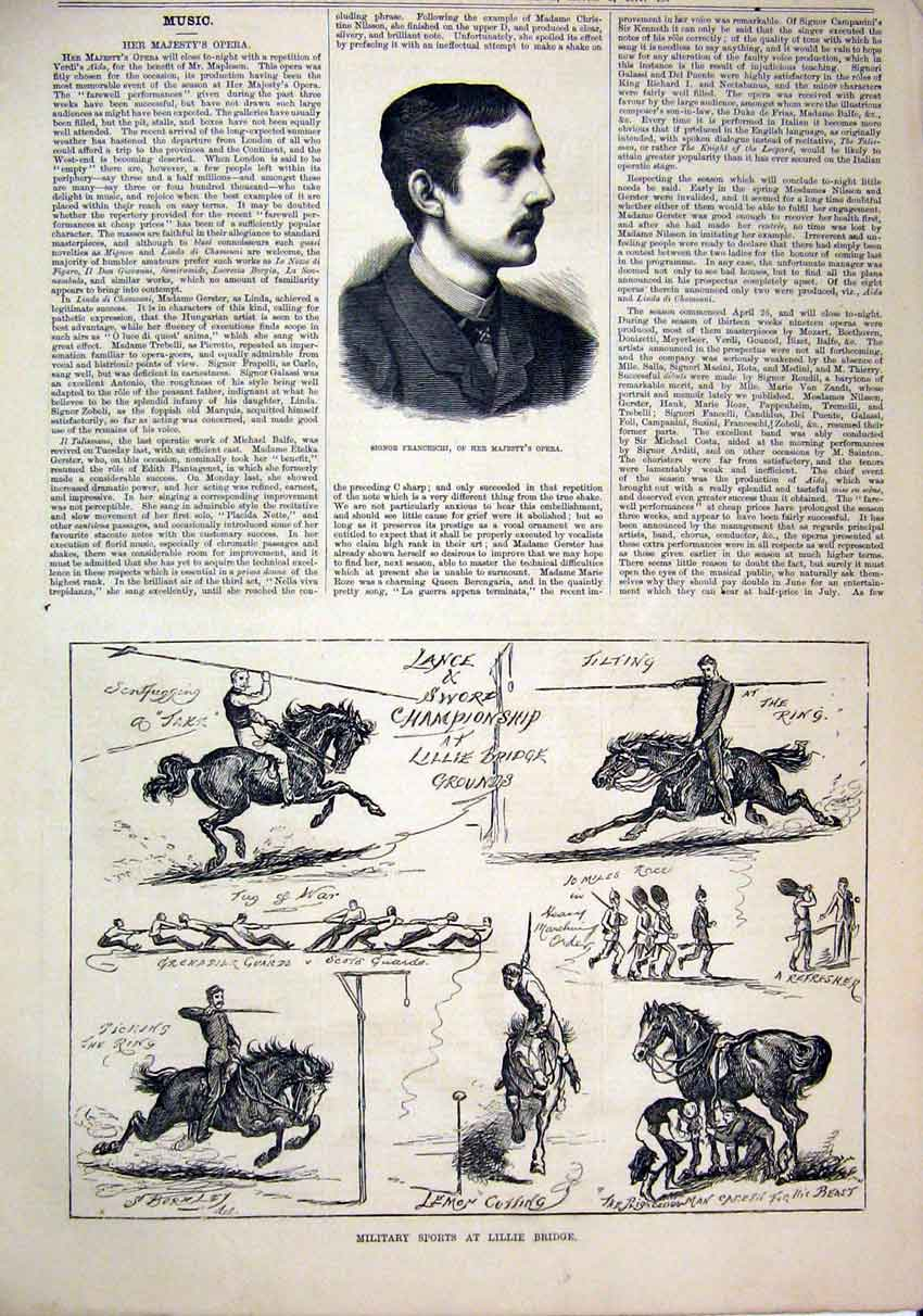 Print 1879 Portrait Signor Franceschi Opera Lance Sword 44Mar1 Old Original