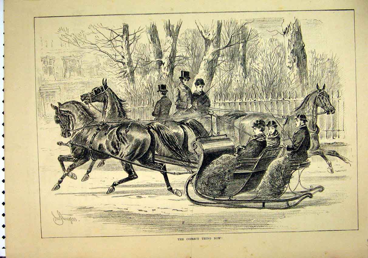 Print 1881 Horses Sledging Snow Women Village Scene 46Mar1 Old Original