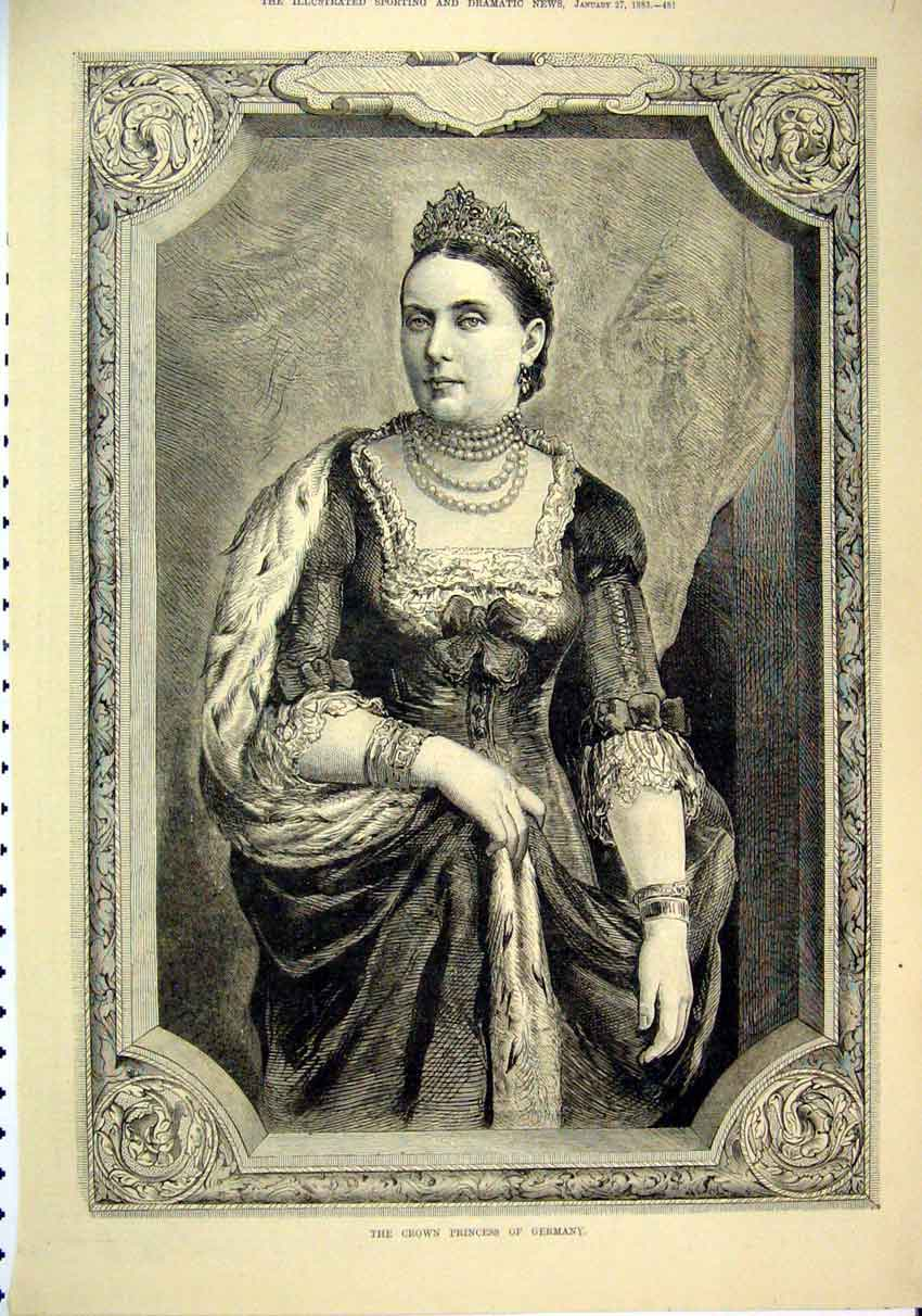 Print 1883 Portrait Crown Princess Germany 49Mar1 Old Original