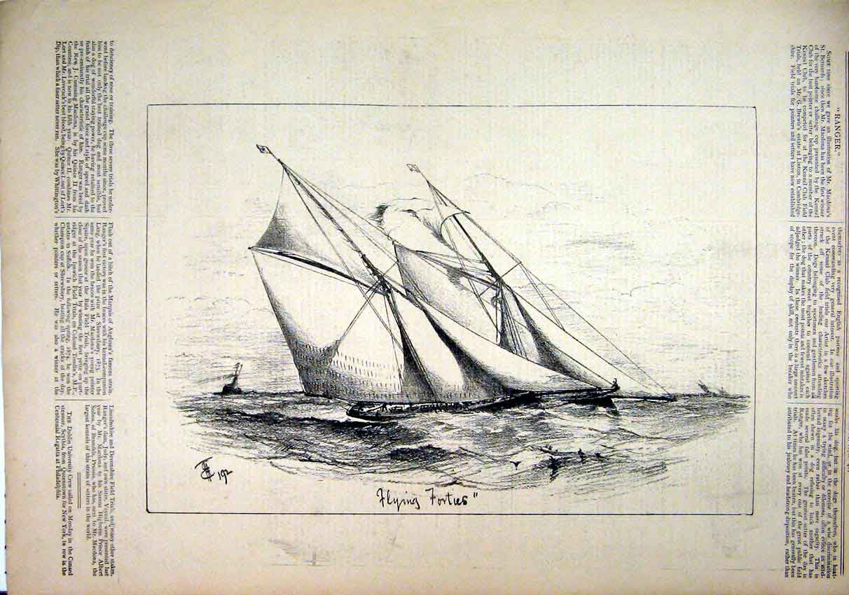 Print 1876 Sketch Sailing Yacht Ship Sea Scene 54Mar1 Old Original