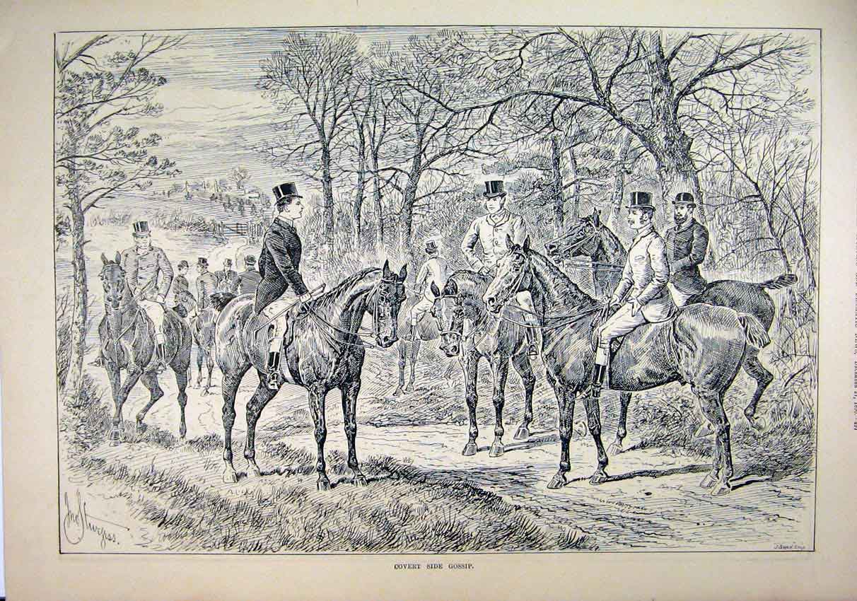Print 1890 Country Sketch Men Horses Gossip Trees Hunting 63Mar1 Old Original