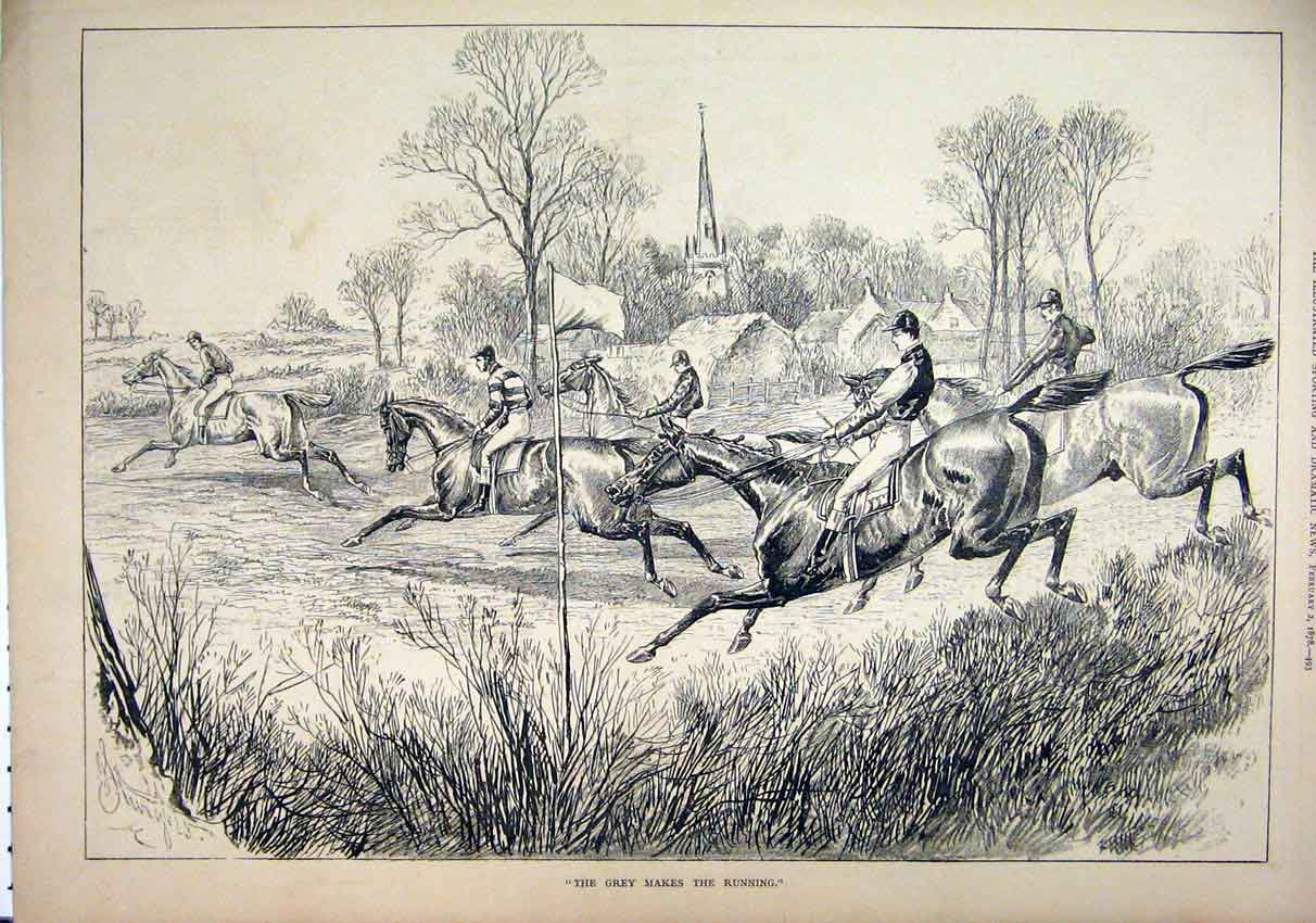Print 1878 Horse Racing Jockey Jumping Village 64Mar1 Old Original