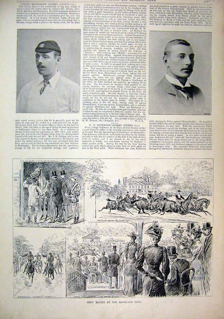 Print 1893 Pony Racing Ranelagh Club Henderson Lockwood 87Mar1 Old Original