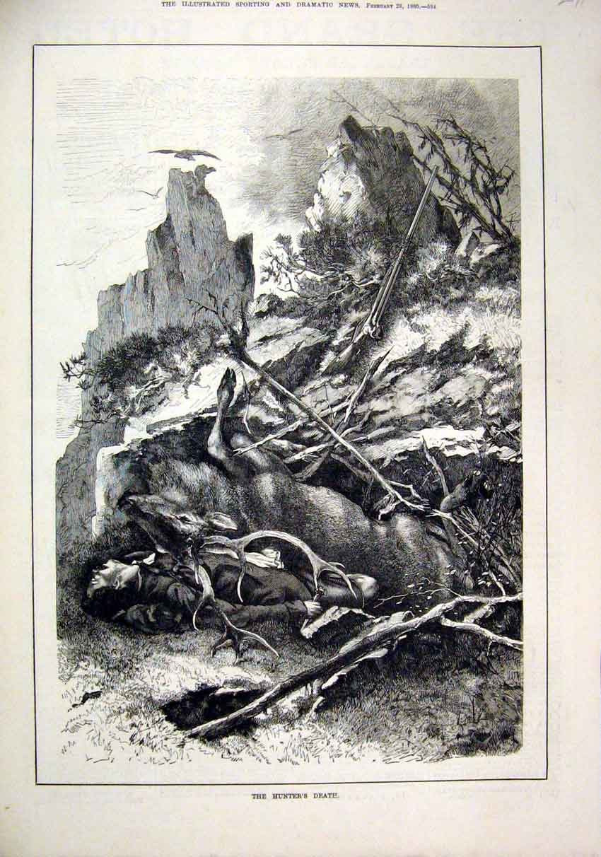 Print Hunters Death 1880 Man Stag Lying Dead Fallen Cliffs 91Mar1 Old Original