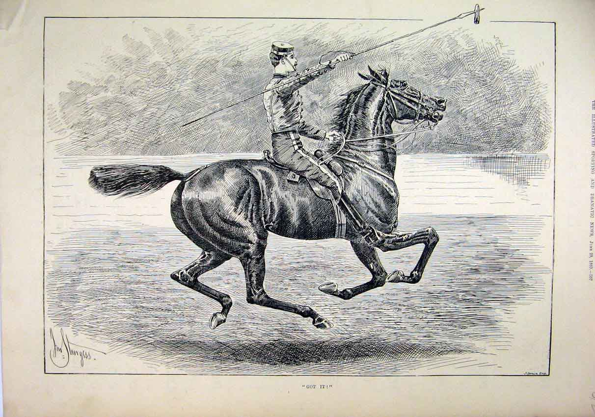 Print 1889 Soldier Beautiful Horse Spear Sport 12Mar1 Old Original