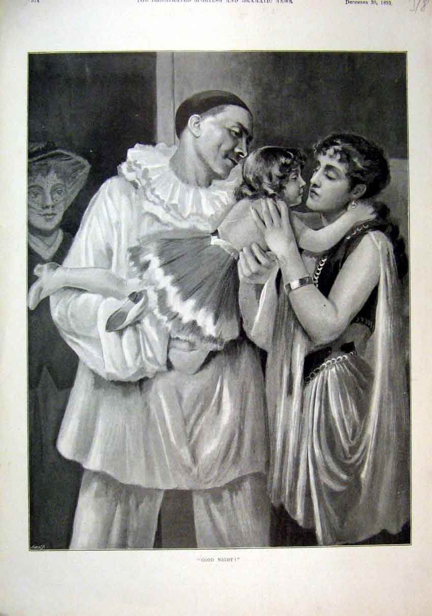 Print 1893 Fancy Dress Man Woman Young Girl Goodnight Kiss 18Mar1 Old Original