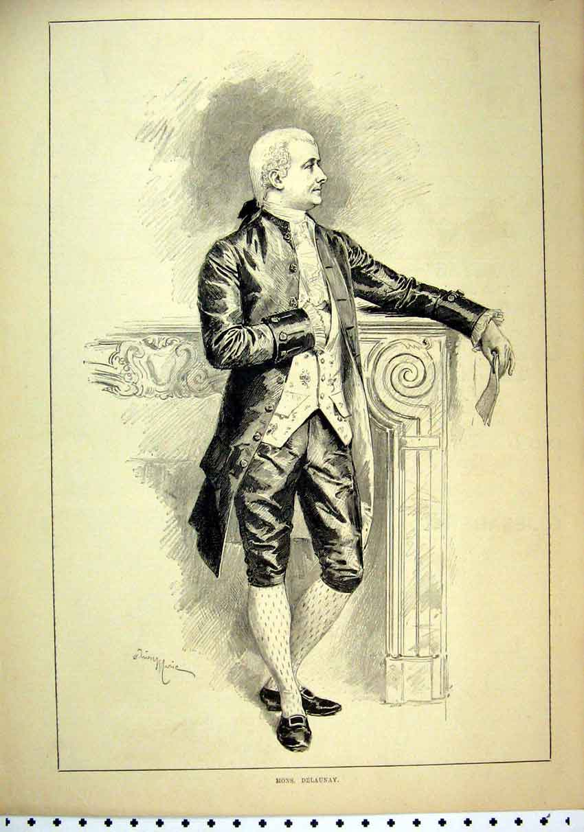 Print 1887 Portrait Mons. Delaunay Man Carrying Letter 21Mar1 Old Original