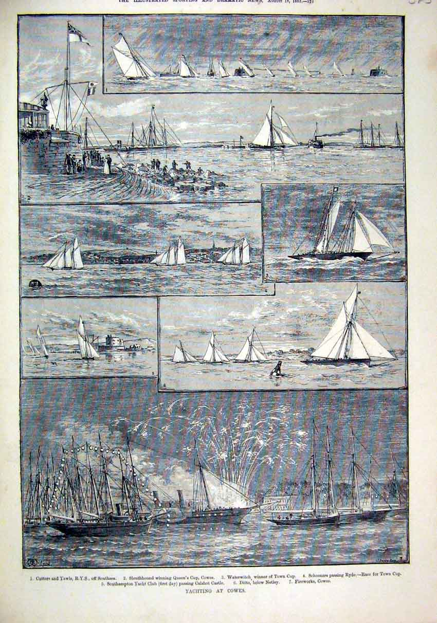 Print 1883 Yachting Cowes Cutters Yawls Waterwitch Ditto 25Mar1 Old Original