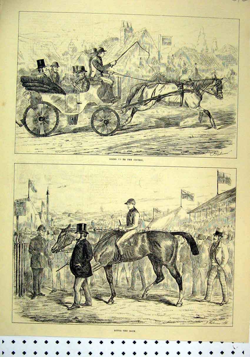 Print 1875 Horse Racing Carriage Arriving Winner After Race 42Mar1 Old Original