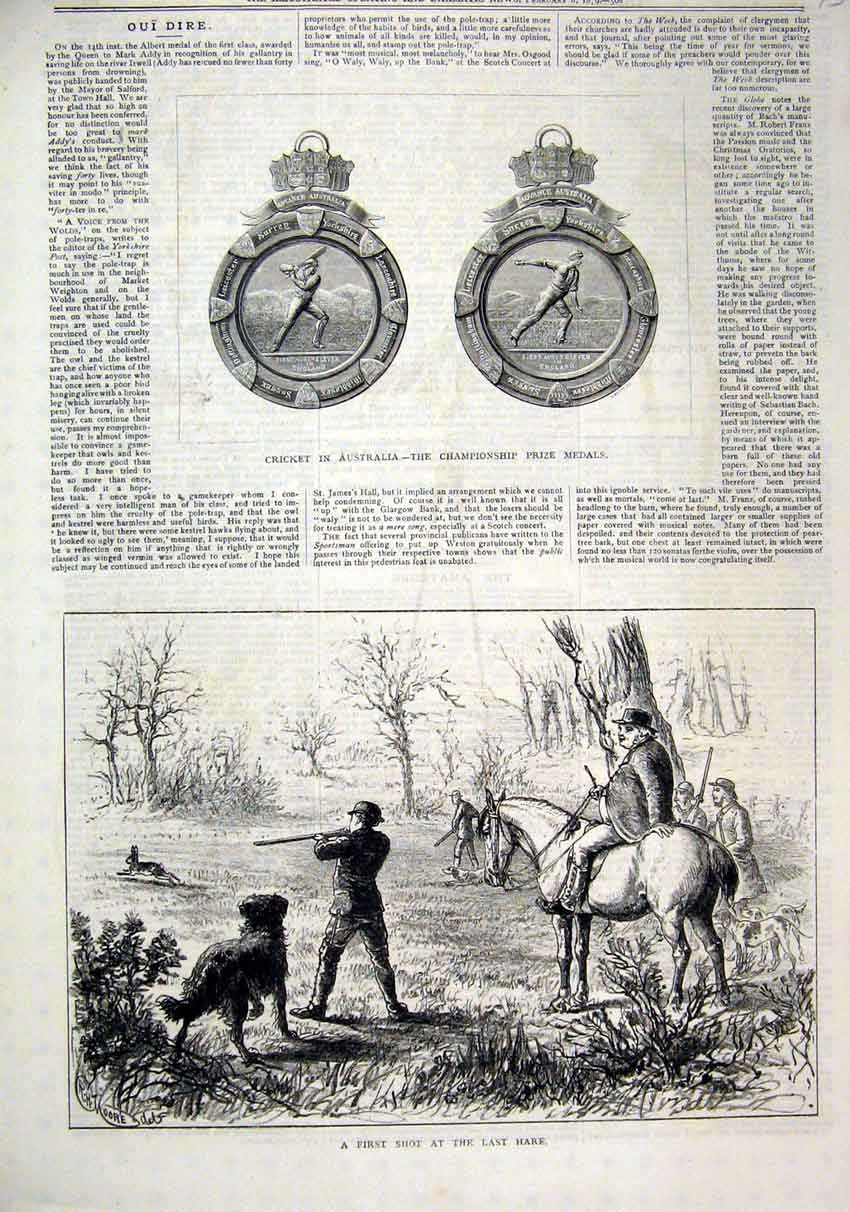 Print Cricket Australia Prize Medals 1879 Shooting Hare 43Mar1 Old Original
