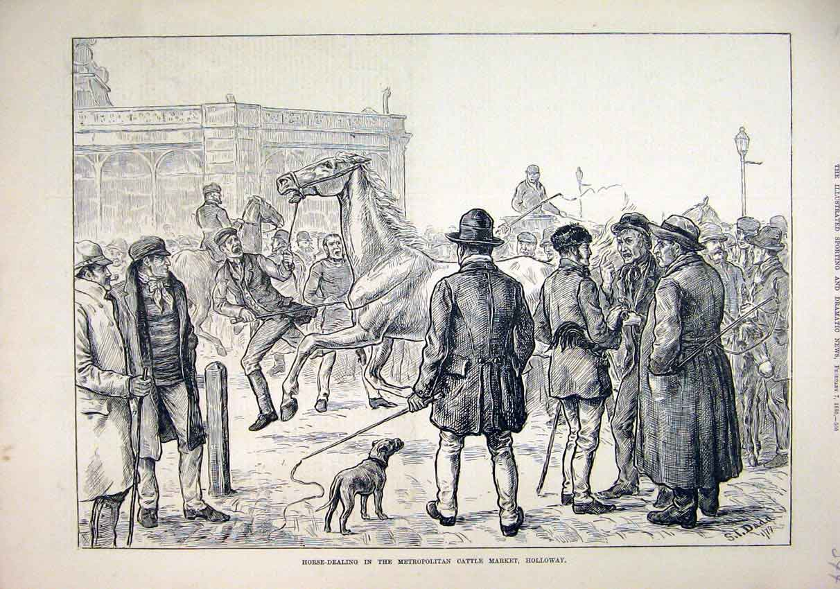 Print 1880 Horse-Dealing Metropolitan Cattle Market Holloway 44Mar1 Old Original