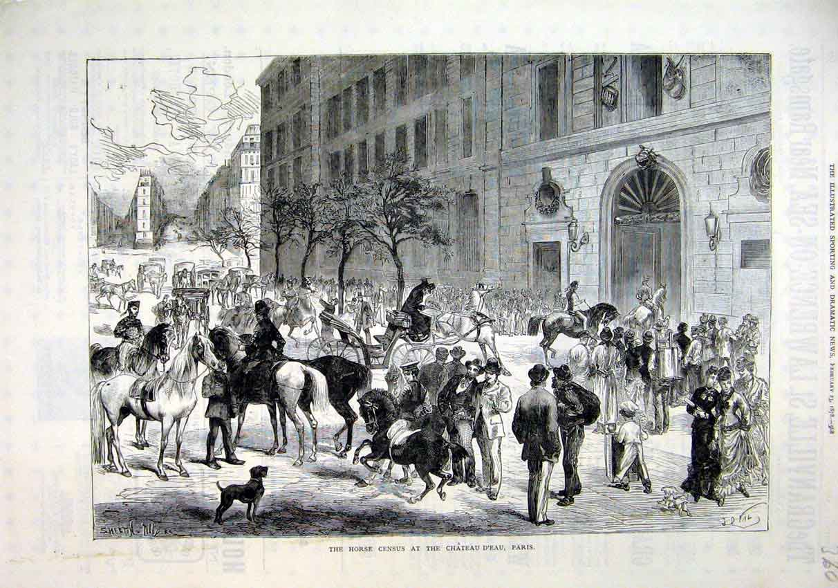 Print Horse Census Chateau D'Eau Paris 1878 Street Scene 60Mar1 Old Original