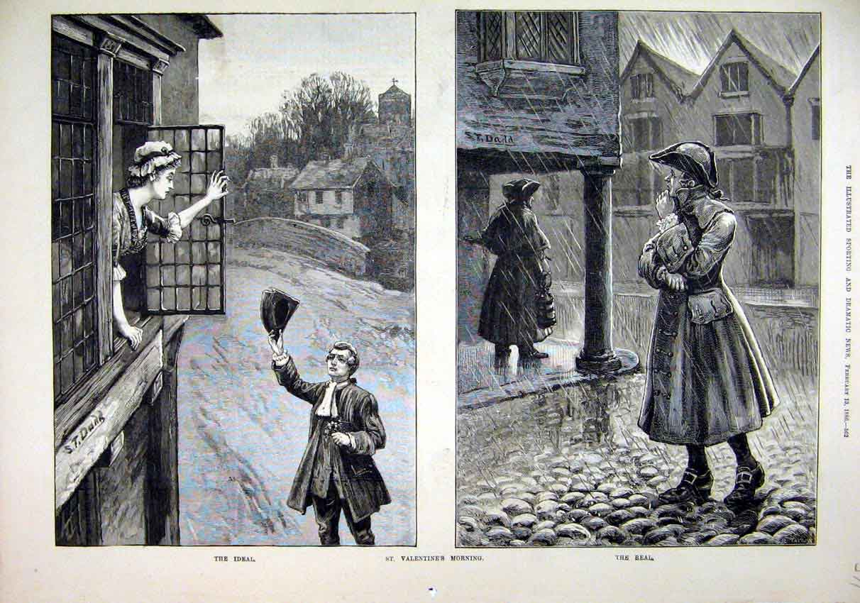 Print 1886 Valentines Morning Woman Window Romance Rain 71Mar1 Old Original