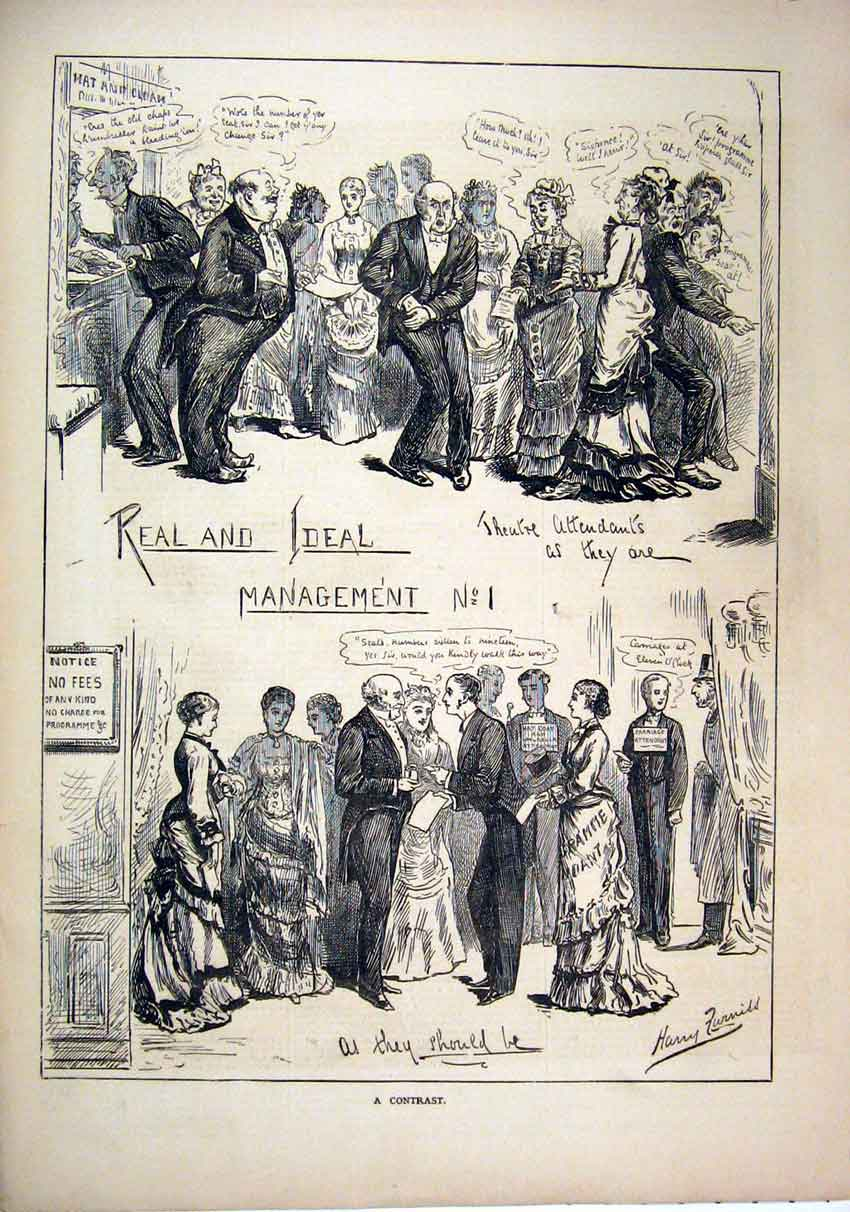 Print 1877 Theatre Attendants Mangement Hat 80Mar1 Old Original